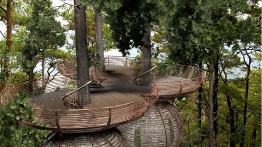 Antony Gibbon, Antony Gibbon Designs, Roost, Treehouses, sustainable, viewing platform, daylighting, Lothlorien, Lord of the Rings