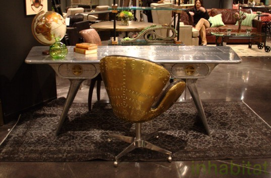 Las Vegas Market, Sustainable Furnishings, Green Furniture, Eco Home, four hands, recycled metal, salvaged aluminium, airplane wings, green metal furniture