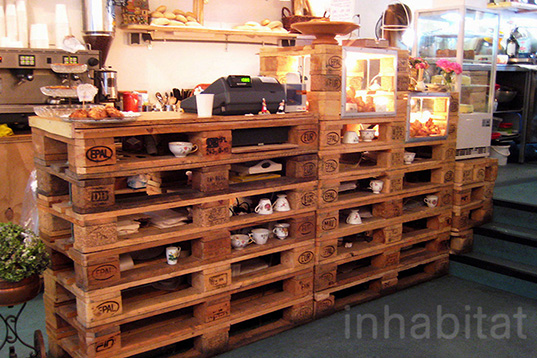 Pallet Furniture Interior Design ~ Cute organic bakery in amsterdam boasts recycled shipping