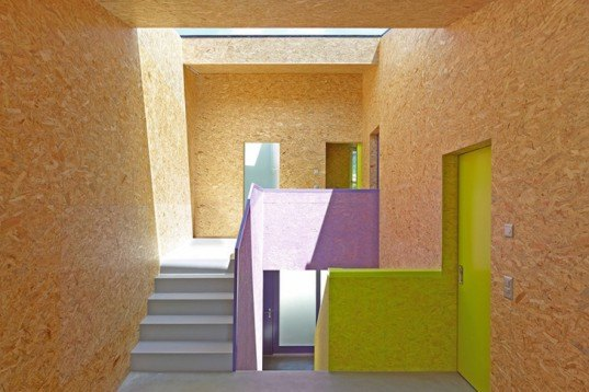 ARCHI7, MMR, OSB, Colorful, family home, Mélèze, local materials, bold colors, Switzerland, Architecture, Daylighting, Recycled Materials, Green Lighting,