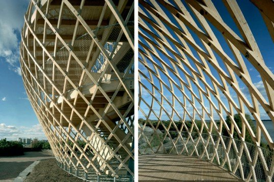 Avanto Architects, steam bent, wooden, Korkeasaari Zoo, tower, linen oil, Air quality, Architecture, Green Materials, energy efficiency, helsinki, finland