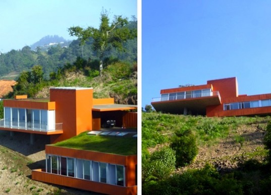 Green roof, Casa Cabeço, madeira, portugal, pumpkin patch, orange house, sustainable design, green design, insulation, stormwater run off, north-facing home, daylighting, natural light, MSB Arquitectos