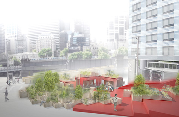 Hassell to transform shipping containers and pallets into for Urban design architects melbourne