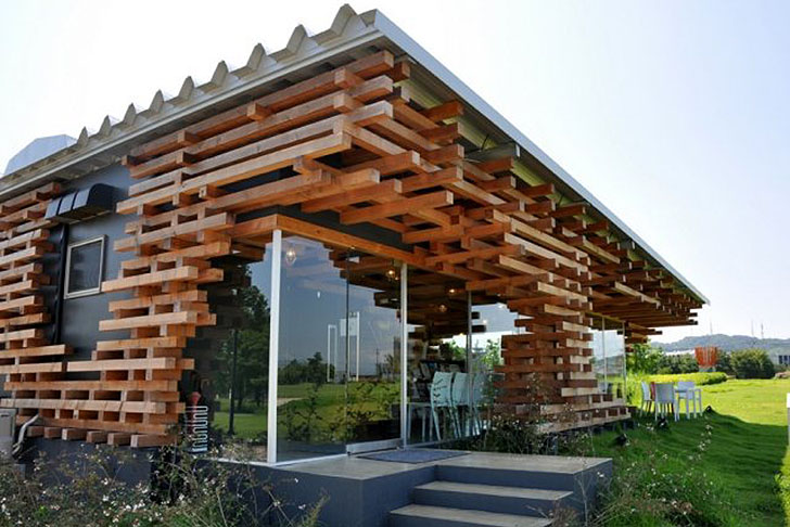 Kengo Kuma S Jenga Like Cafe Kureon Is Made From Stacks Of