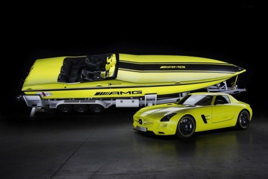 Mercedes-Benz, Cigarette Racing, Miami International Boat Show, green transporation, electric boat, green boat, electric motor, lithium-ion battery, Mercedes-Benz SLS AMG Coupe Electric Drive,