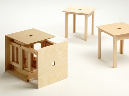 Awesome Cube 6 Naho Matsunos Clever Wood Cube Transforms Into Six Caraccident5 Cool Chair Designs And Ideas Caraccident5Info