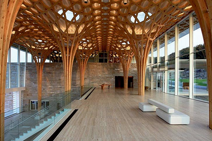 shigeru ban 39 s gorgeous nine bridges golf club house is inspired by traditional bamboo cushions. Black Bedroom Furniture Sets. Home Design Ideas