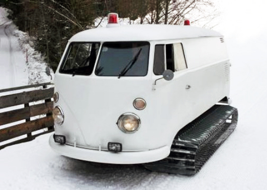 1966 VW Bus Retrofitted With Snowmobile Tracks and Sound