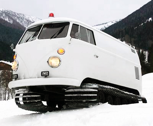 VW Bus Bulli T1, snowmobile, recycled vehicle, DJ, speakers, subwoofer, vw snowmobile, coversion