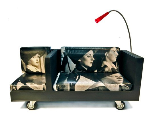 transfodesign, menage a trois sofa, recycled refrigerator, recycled materials, sustainable design, green design, green interiors, green furniture, sustainable furniture, recycled furniture, led lamp, led, recycled tarp