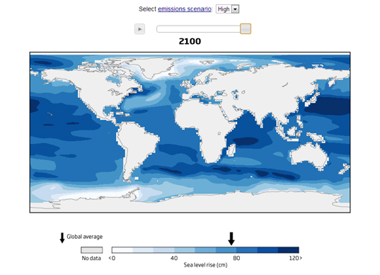 global sea level rise map, Perrette sea level map, melting ice, climate change, sea level rise NYC, global warming, ice sheets, Antarctica ice, Potsdam Institute for Climate Impact Research, sea level rise predictions