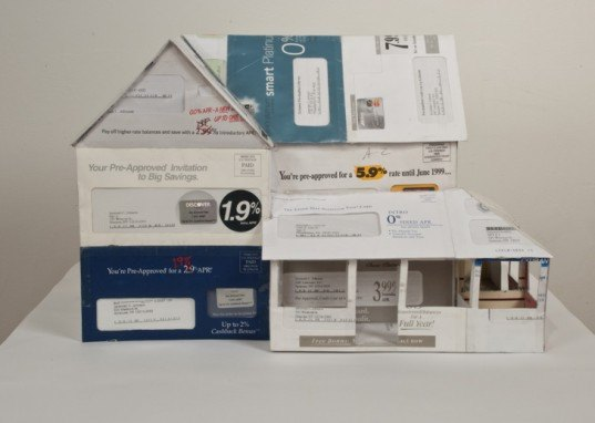 the dream homes project, jeremiah johnson, credit card applications, model houses, paper, recycled