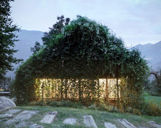 green design, eco design, sustainable design, Green Box, Act_romegialli, green roof, Italian Alps, vine covered garage, living walls