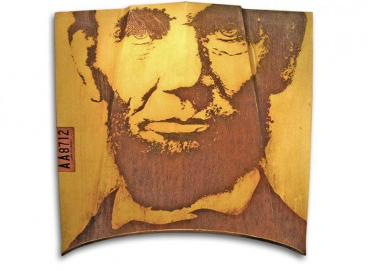 Milwaukee Modern, eco art, upcycling, upcycled art, recycled art, green art, abraham lincoln portrait, abe lincoln