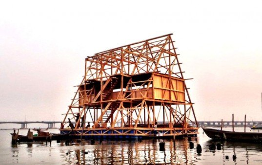 floating school, makoko, lagos, nigeria, kunle adeyemi, africa, flood, water