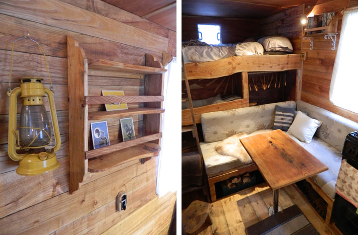 Rustic campers cosy living spaces in the back of a van for International home decor stores