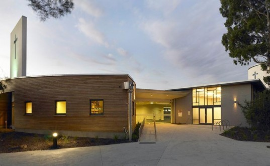 st. alfred's church, melbourne, studio b architects, passive thermal design, natural cooling, solar heating, rammed earth, thermal mass, rainwater harvesting, solar chimney, hydronic solar heating panels, hydronic heat exchanger
