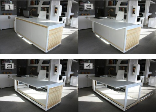 Athanasia Leivaditou, Studio NL, A Design Award, 1.6 SM Of Life, Transforming Desk, Desk into bed, furniture, transforming furniture, New York, compact bedroom,
