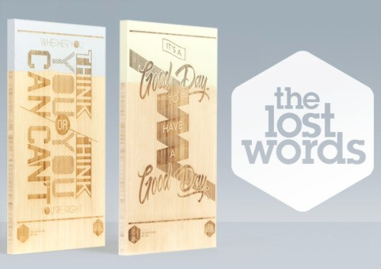 the lost words, green graphics, bamboo, renewable materials, green materaisl, fsc-certified, fsc bamboo, forest stewardship council, green posters, sustainable design, green design