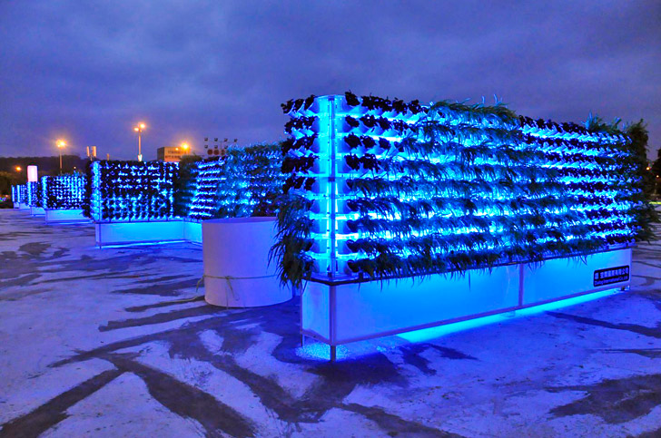 green wall lighting. verticult miniwiz unveils glowing green wall made from recycled bottles inhabitat design innovation architecture building lighting