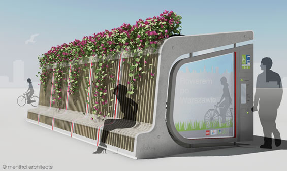 Menthol Architects, urban furniture, city furniture, plant covered bus stop, bike and bus, plant-covered bicycle parking pod, modular city furniture, bike parking, bike pod, bike rack