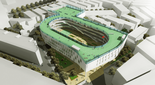 Tian Tai County ChiCheng No. 2 Primary School, China, rooftop running track, urban density, sustainable design, footprint, eco-design, urban design, green design, LYCS Architecture, Daylighting