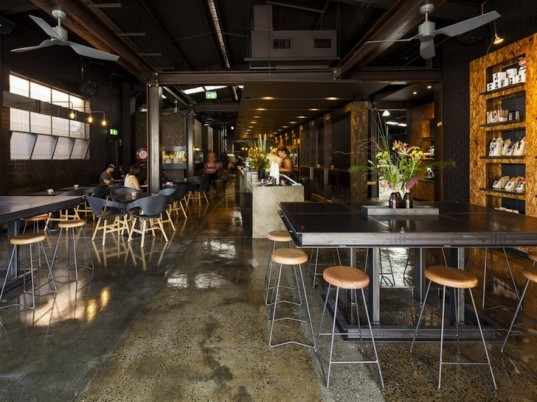 industrial chic, daylighting, OSB, Zwei interior design, architecture, mixed-use, Cafenatics operations, Code Black Coffee, green design, urban design, sustainable design, sustainable renovation