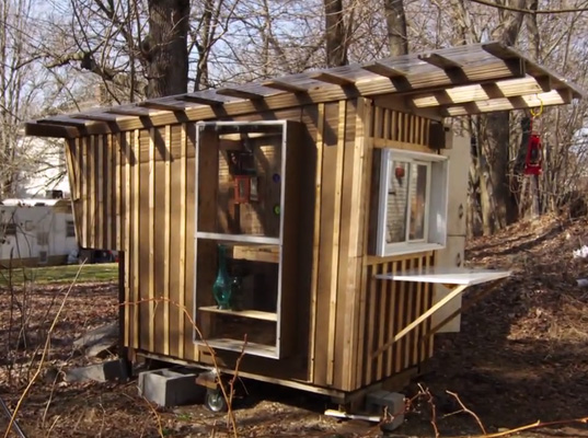 Derek Diedricksen, the Tiny Yellow House, DIY Network, DIY Tiny Cabin, Tiny living, low-impact living, Micro Cabins, Gypsy Junker, Recycled home, Recycled cabin, junk cabin, junk house