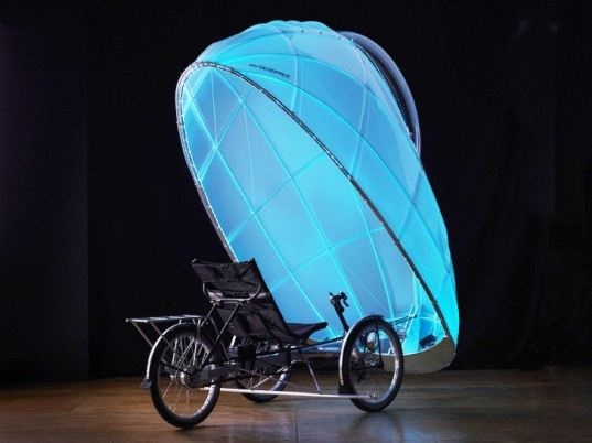 Firefly trike, GeoSpace Studio, eco-friendly transport, green transportation, tricycle design, LED lights, human-powered vehicle, vehicle design, green design