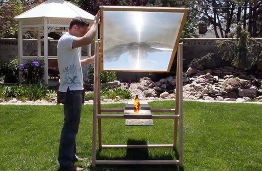 green design, eco design, sustainable design, King of Random, solar power death ray, Grant Thompson, recycled television, home made solar cooker, solar kitchen