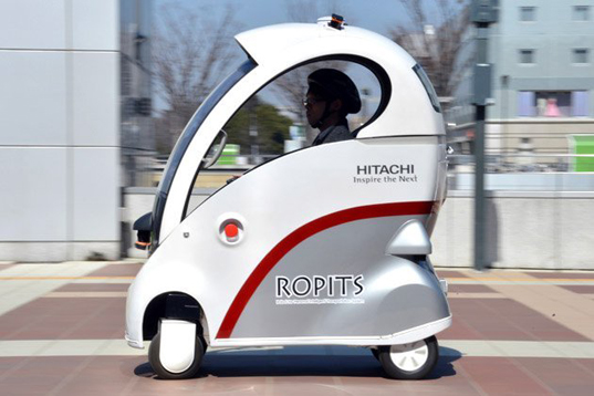 Hitachi Ropits, Ropits self-driven car, Ropits robotic vehicle, car sensors, green technology, green transportation, automobile industry, car GPS technology, vehicle navigation, battery-powered vehicle, car lithium ion batteries, Ropits Tsukuba city