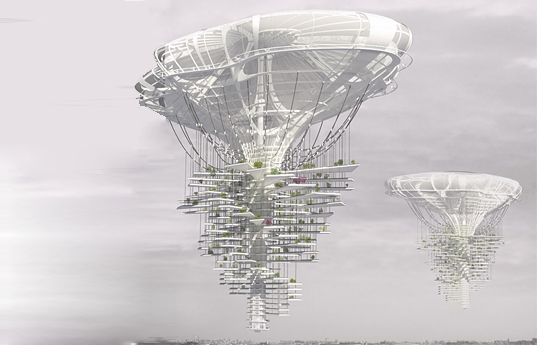 Light Park Skyscraper, eVolo 2013 Skyscraper Competition, eVolo Competition, floating skyscraper, floating houses, lightweight megastructures, solar-powered highrise, rainwater collection, self-sufficient city, clean energy