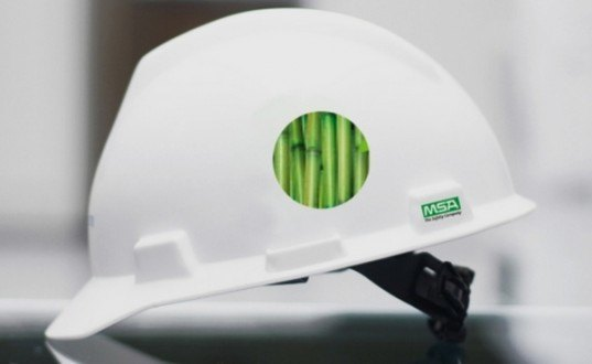 msa, msa safety, sugarcane ethanol hard hat, renewable materials, sustainable materials, green design, sustainable design, bioplastic, green accessories, sustainable fashion
