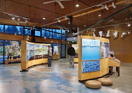 Brightwater Center, Mithun, Seattle, education, community, water treatment plant, LEED, platinum, energy efficient, radiant floor heating, solar panels, reclaimed water, recycled materials, King County, sewage treatment