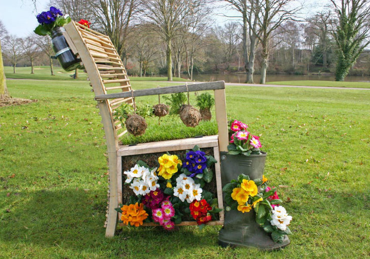 Bridgman Garden Furniture Living garden chair made from recycled furniture features a real sod design workwithnaturefo