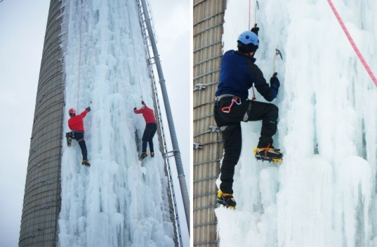converted ice climbing wall, grain silo ice climbing, ice climbing, Iowa ice climbing, Don Briggs climbing wall, University of Northern Iowa, winter sports