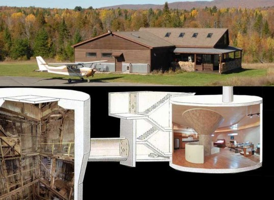 apocalyptic home, Bruce Francisco, Cold War missle silo, converted missile silo, eco design, green design, Gregory Gibbons, mountain lodge, saranac new york, silo home, sustainable design