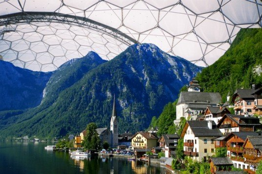 duplitecture, april fools, hallstatt austria, beijing air pollution, beijing air quality, ecotourism, cloned village, china austrian village, china alpine village, architecture clone, geodesic dome, buckminster fuller