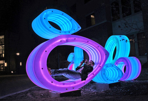 Glowing Fish Bellies Led Sculpture Reflects Local Ecology At Texas State University