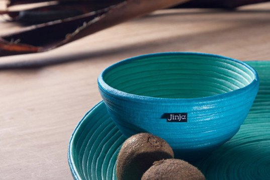 Jinja, sustainably designed products, designer Norma Silva, designer Tom Allen, recycled textile waste, eco housewares, eco bowls