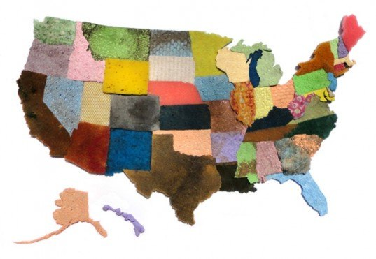 jeffrey allen price, map, sponge, recycled, up-cycle, geographic, textured, installation, united states map