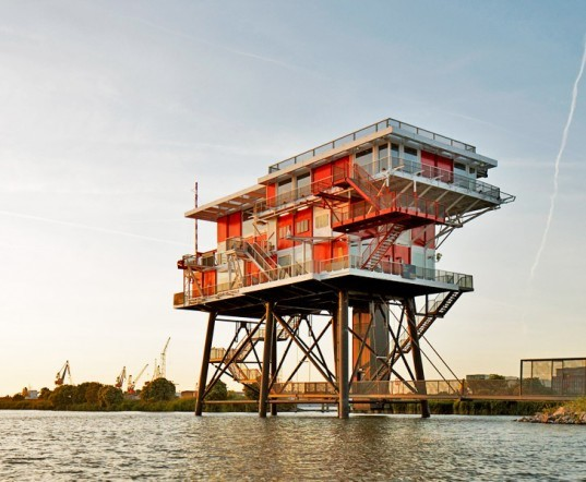 Concrete, REM-Island, Dutch Pirate Radio, sea platform, restaurant, Amsterdam, Architecture, Daylighting, Recycled Materials
