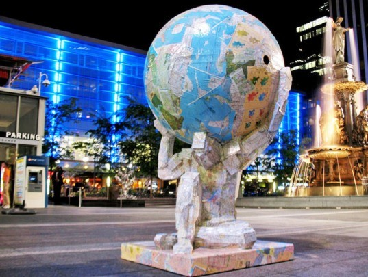 Atlas Recycled, Tom Tsuchiya, recycled sculpture, recycling, sustainable design, green design, eco art, recycled materials, green art, recycling initiatives, urban art, atlas