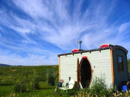 tiny house, micro house, high desert journal, green design, sustainable design, eco-design, charles finn, potomac cabin, a room of one's own, architecture, reclaimed materials, recycled materials, rustic cabins