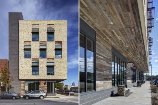 Clock Shadow Building, Continuum Architects Planners, milwaukee, eco office, green roof, health and wellness center, reclaimed materials