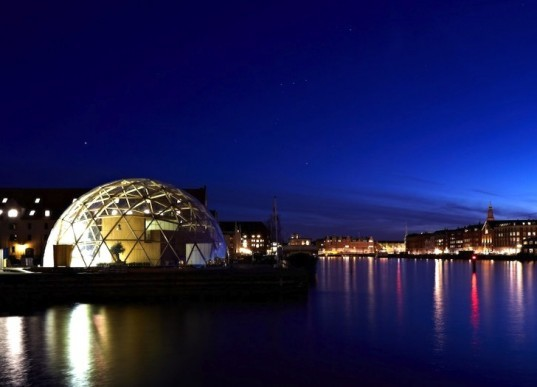 Dome of Visions, greenhouse, cultural center, CNC-cut materials, mobile project, Copenhagen, Denmark, temporary design, urban farming, geodesic dome, green design, sustainable design, eco-design, Kristoffer Tejlgaard, Benny Jepsen, art, culture, music