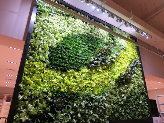 Gsky adds two gorgeous green walls to west elm s new store Green walls vertical planting systems