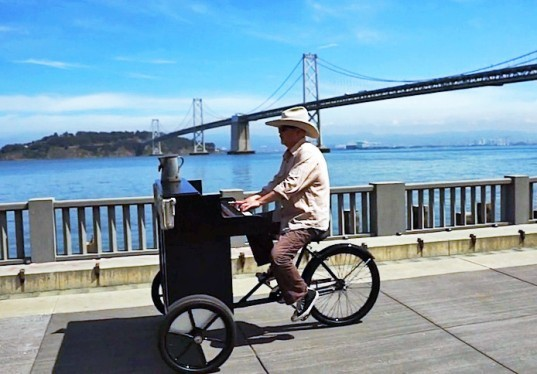 garry skaggs, piano, musical instruments, bike design, bike piano, bicycles, music, san francisco, sustainable transportation, invention, creative repurposing, bikes