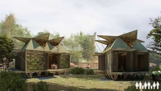 green design, eco design, sustainable design, H&P Architects, affordable disaster housing, bamboo housing, Southeast Asia housing, floating housing