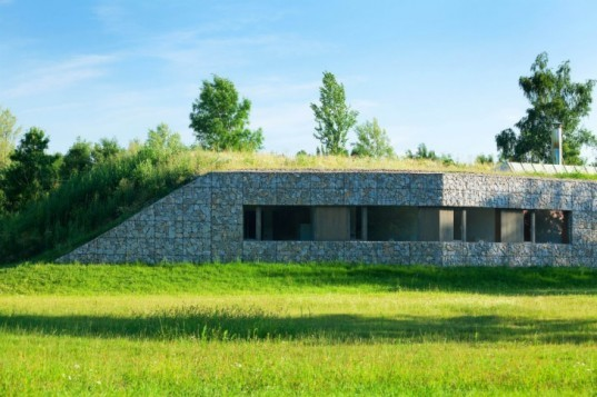 Hunting Lodge, Basarch, czech republic, green roof, earth bermed, earth bermed house, gabion baskets